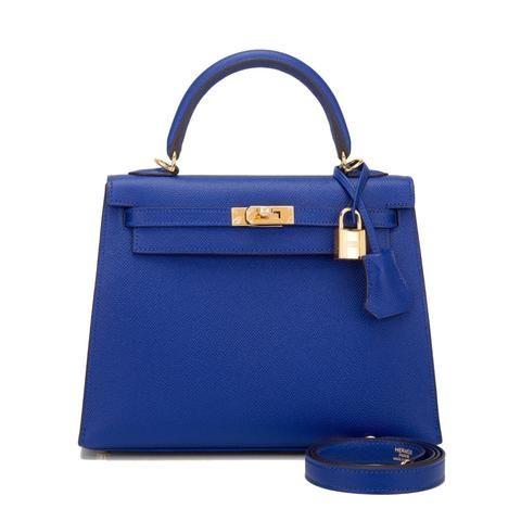 Hermes Blue Electric Epsom Sellier Kelly 25Cm Gold Hardware Handbags ... e4a72cd2129a4