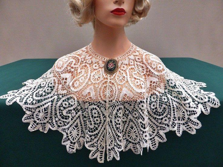 Antique Exquisite Cluny Silk Lace Capelet