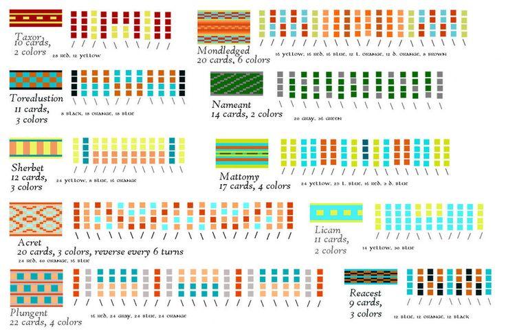 EQoS Tablet Weaving patterns on DeviantART.  She's got pattern making SKILLS!