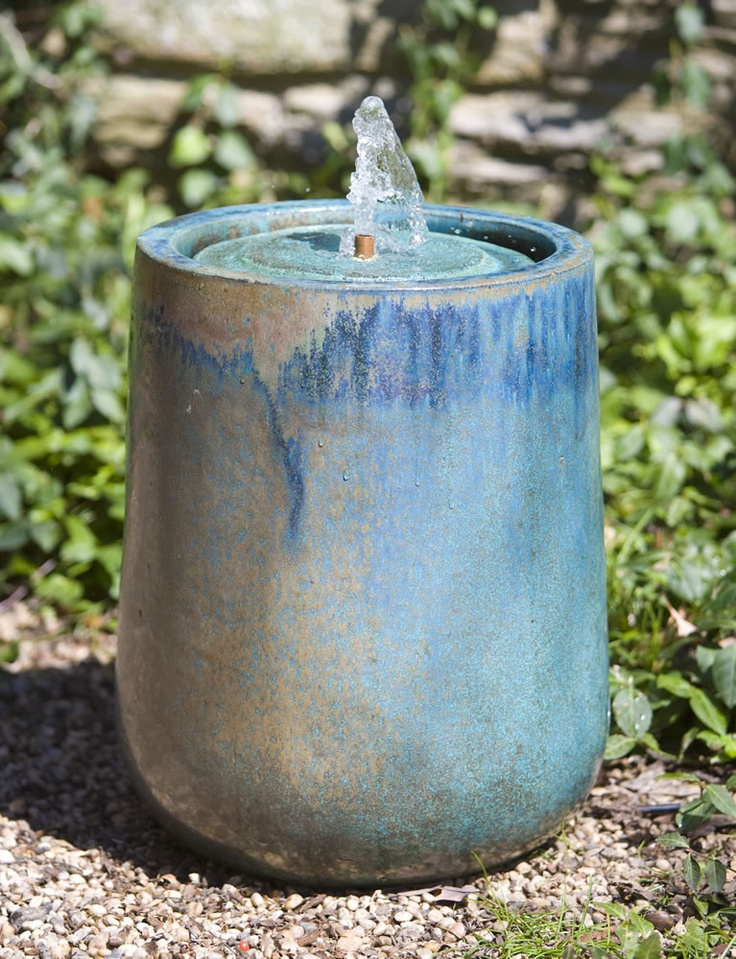 17 best images about glazed and ceramic planters and fountains on pinterest jars tall - Water garden containers for sale ...