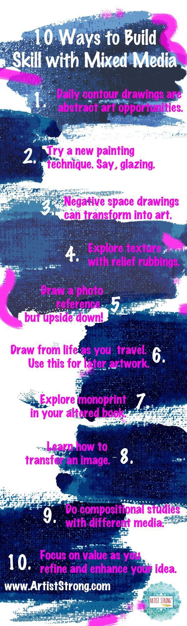 10 ways to build your skill using mixed media art   free art lessons   inner artist   art ideas