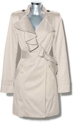 Ruffle Front Trench Taupe