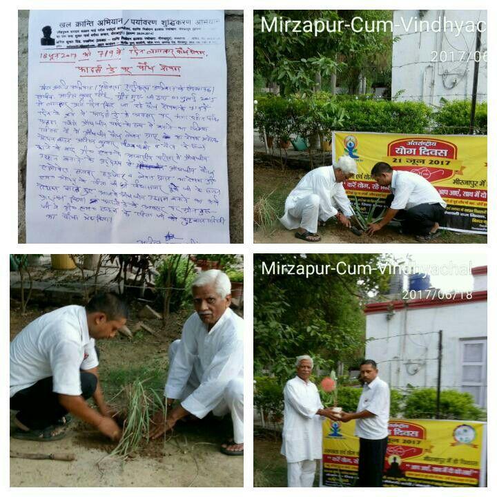 फादर्स डे / योग जागरूकता के लिए पौध रोपण- करे योग, रहे निरोग, लगाए पौध, भगाए रोग, 18 जून 2017 को 719 वें दिन लगातार पौध रोपण के क्रम में खेल क्रान्ति अभियान/पर्यावरण शुद्धिकरण अभियान के संस्थापक / सचिव-अनिल कुमार सिंह(ग्रीन गुरु जी) प्रवक्ता, शान्ति निकेतन इण्टर कॉलेज ,पचोखरा, मिर्ज़ापुर द्वारा 1 जुलाई 2015  से लगातार  किए जा रहे पौध रोपण के 719 वें दिन के क्रम में फादर्स डे के अवसर गंगादर्शन औषधीय पार्क, फतहा, मिर्ज़ापुर,  में औषधीय पौध लेमन ग्रास  का रोपण अशोक मोदनवाल,अनिल कुमार विश्वकर्मा व…