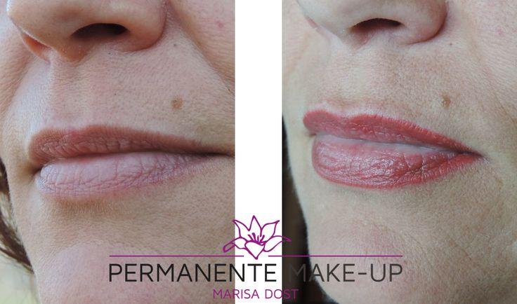 Full lips. De lippen worden volledig ingekleurd, zodat de lippen altijd een frisse tint hebben. Er zijn veel kleuren mogelijk. Dit is een roze/rode tint. Nooit meer lippenstift die in de liplijntjes loopt of vervaagt!