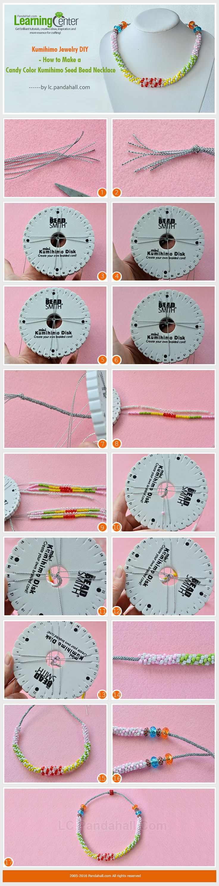 183 best string crafts kumihimo images on pinterest braid diy kumihimo jewelry diy how to make a candy color kumihimo seed bead necklace from lc fandeluxe Gallery