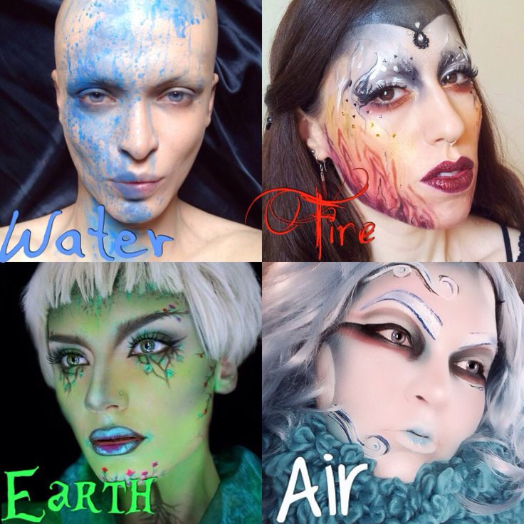 Makeup inspired by the 4 elements Earth, Water, Fire, and Air