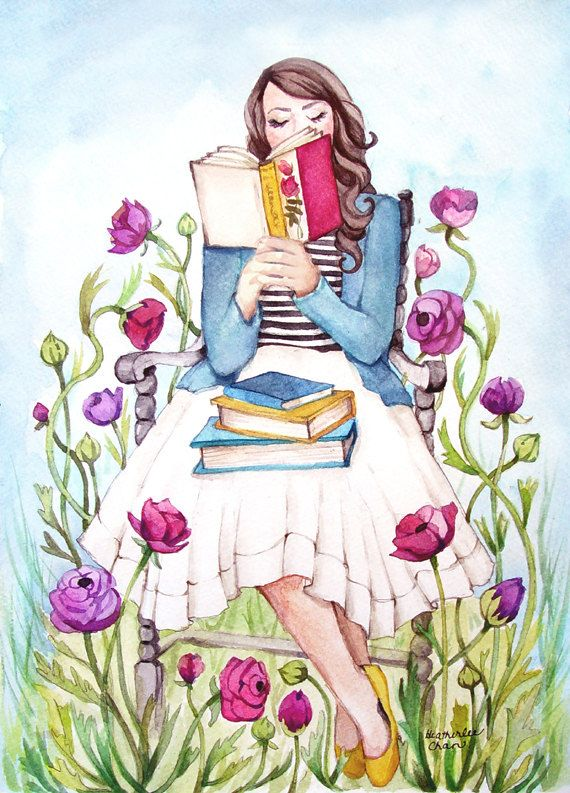 The Book Lover with Flowers | Print of a Watercolor Painting | Lady Poppins | Heatherlee Chan