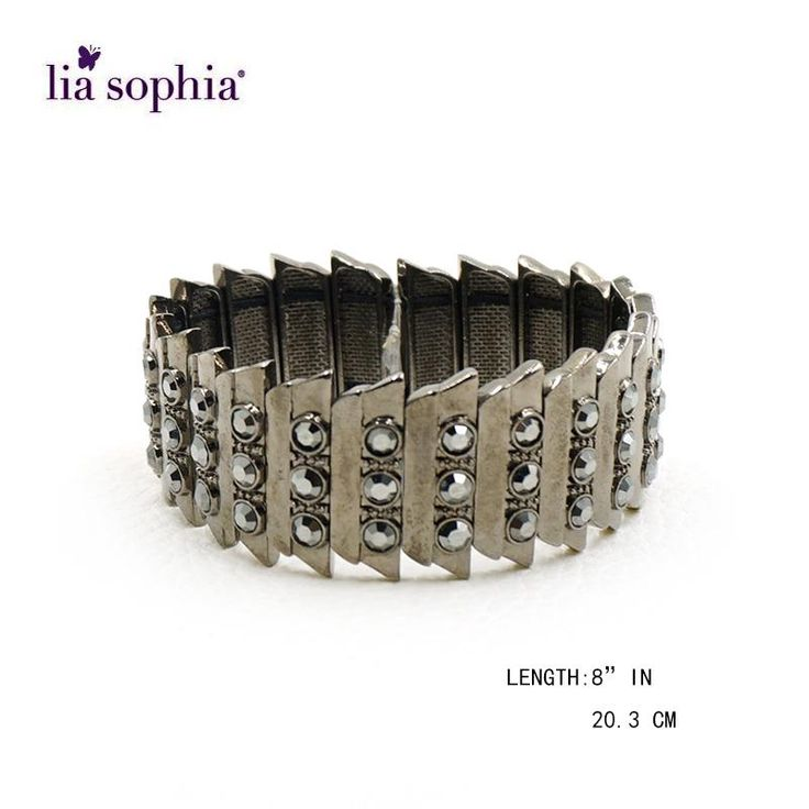 Lia Sophia Black Style Stones Bangle