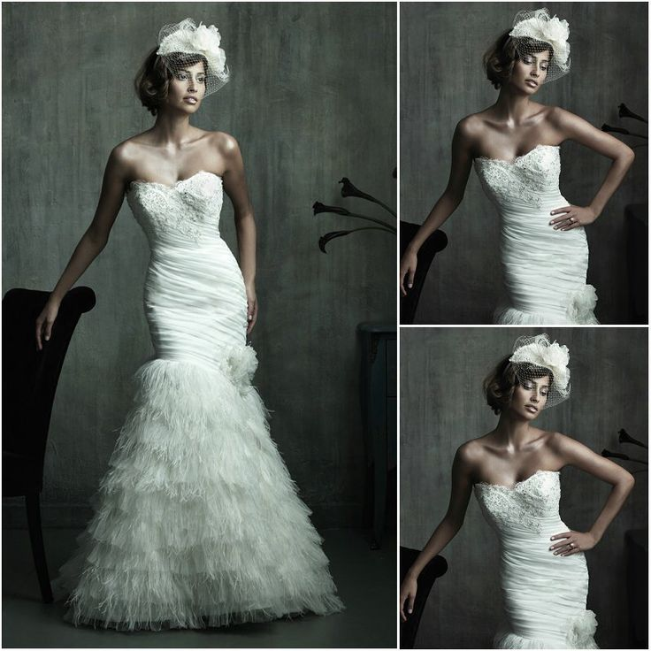 8 best brautkleider couture 2013 images on pinterest for Wedding dress with feathers on bottom