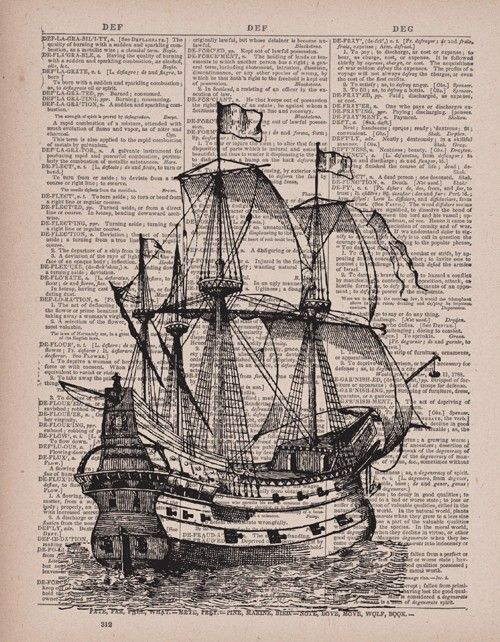 ship printed on dictionary paper. love it.