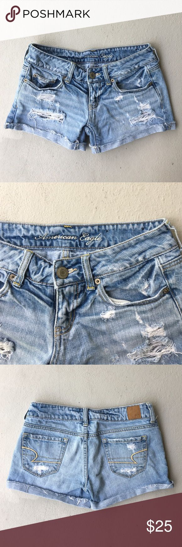 American Eagle Size 0 Light Denim ripped shorts American Eagle Light Denim / jeans ripped shorts Size Zero. AE signature ripped & distressed look. American Eagle Outfitters Shorts Jean Shorts