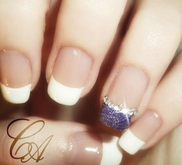 French Manicure w/ Glitter Accent