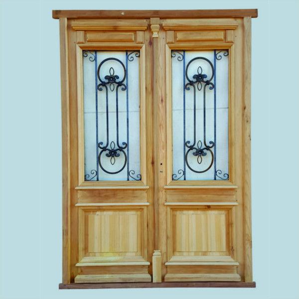 puertas de entrada madera antigua hierro forjado vidrio hojas dobles aberturas carpinteria adornos