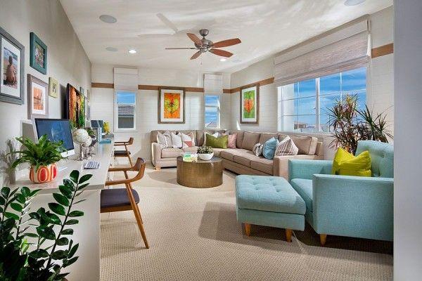 Дизайн современного офиса: белый и голубой цвета в интерьере