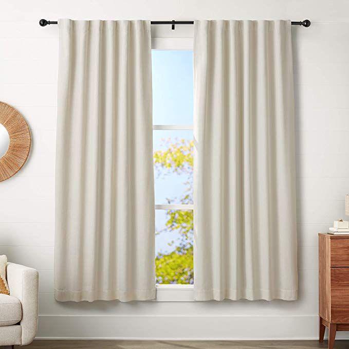 Amazon Com Amazonbasics 1 Curtain Rod With Round Finials 72