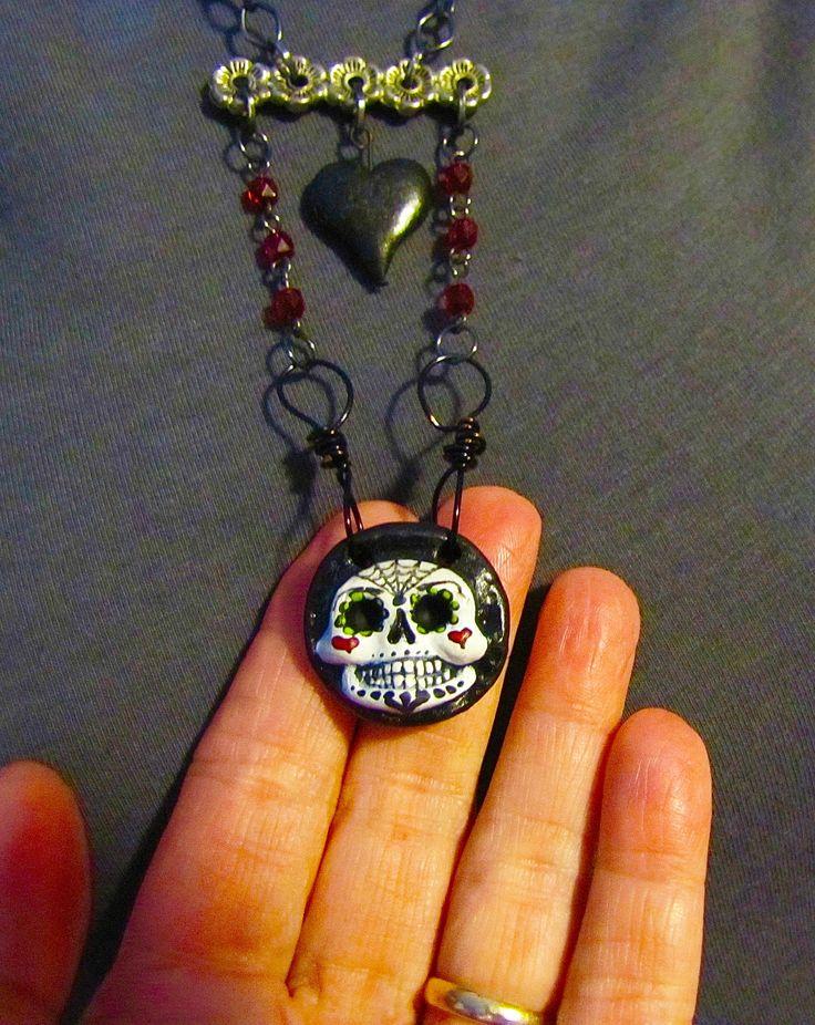 "Dia de Los Muertos Calavera y Corazon necklace Hand made & painted pendant and heart on 12"" chains by Ellie Gee ** MACABREWEBS STUDIOS*** 2015"