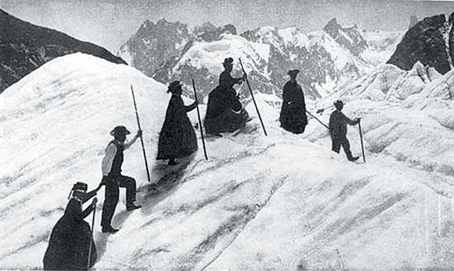 Early mountain climbing in questionable attire near Chamonix in the 1890's.  http://i.imgur.com/V5ORAaA.jpg