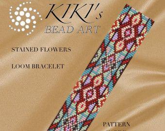 Bead loom pattern Flower with gold LOOM bracelet by KikisBeadArts
