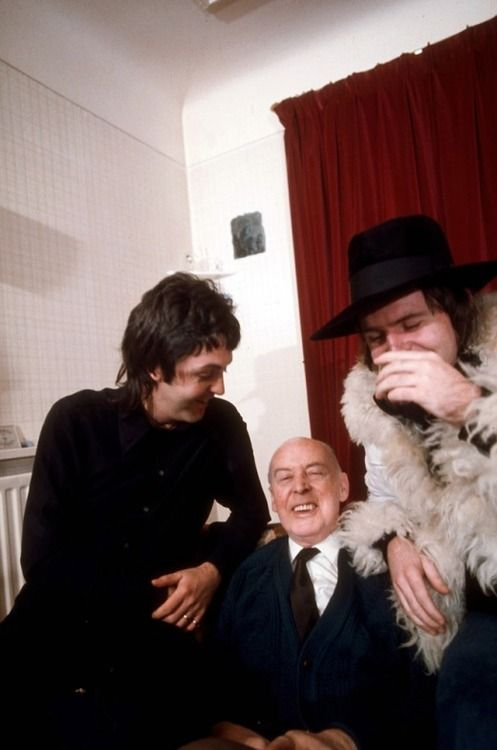 Paul McCartney with his father James and brother Mike McGear, 1974