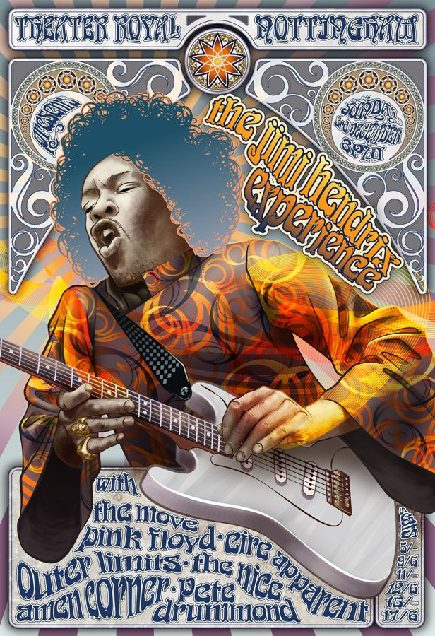 Jimi Hendrix and Pink Floyd concert poster from Nottingham pushes the design even further.
