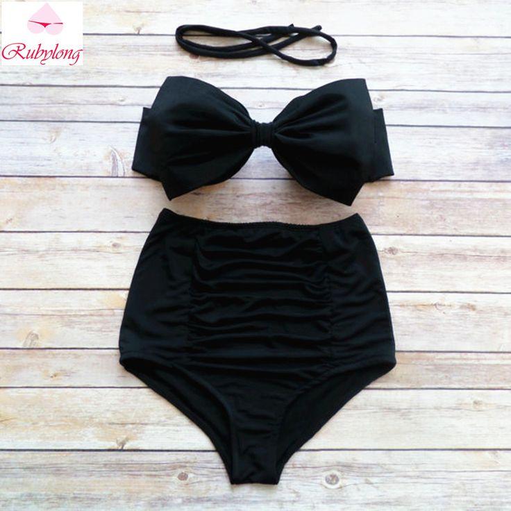 2017 Sexy Bow Bandeau Bikini Women Vintage High Waisted Bikini Sets Female Push Up Swimwear Swimsuit Biquini Maillot De Bain
