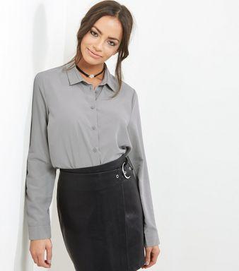 Olive Green Longline Shirt    New Look