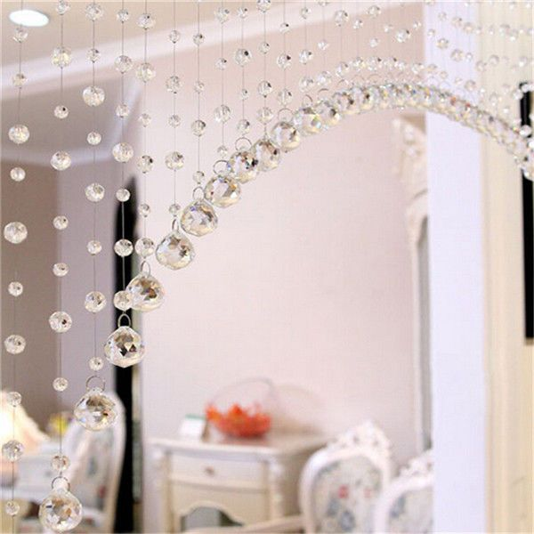 Beaded Crystals Strand String Curtains Hanging Windows Wedding Decoration Prism