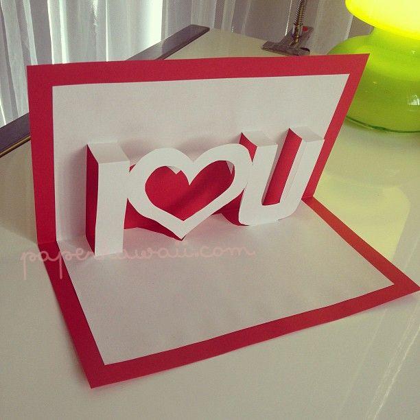 pop up valentines card template i u - Valentine Cards Ideas