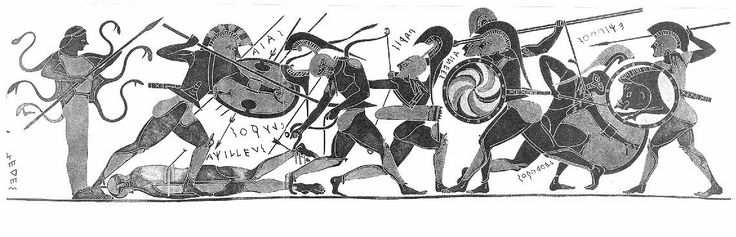 The death of ACHILLES. A drawing of a lost 6th century black-figure vase. The vase depicts a battle over the corpse of ACHILLED. Ajax protects the corpse from Paris, who appears with his bow on the right.