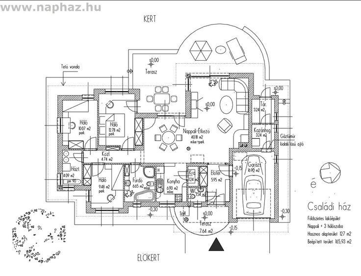 Lakóépület, oldalhatáron álló földszintes családi ház