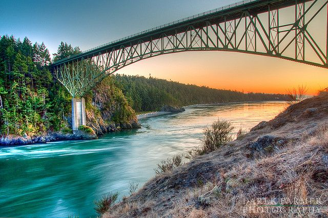 Deception Pass State Park. The bridge connects Fidalgo Island to Whidbey Island in Washington State. It's just amazing.