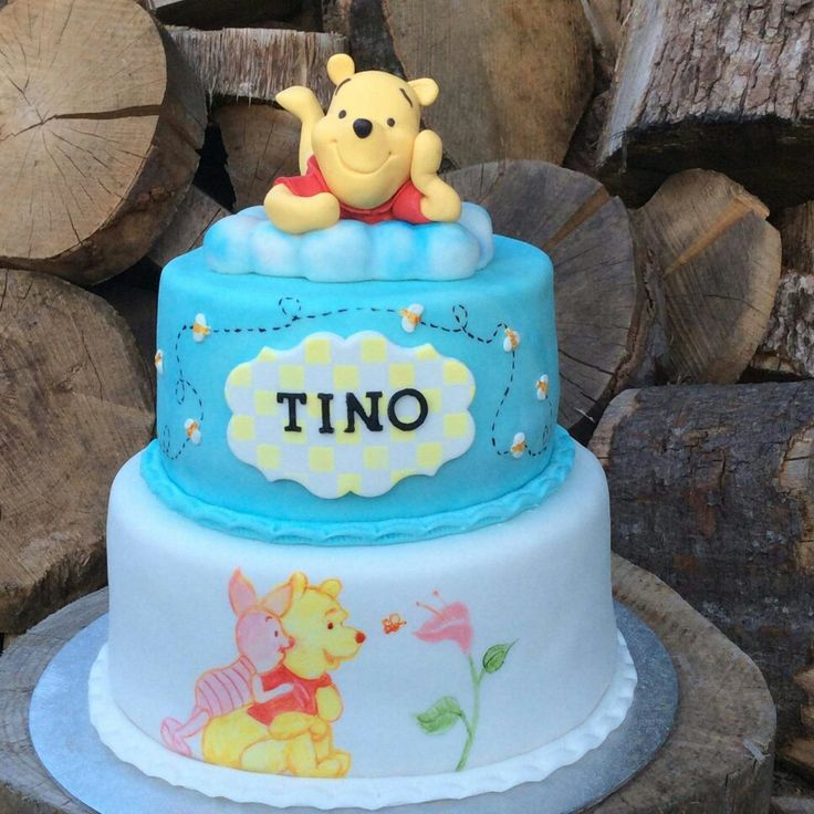 Winnie the pooh christening cake by Carmen Sweetness cakes