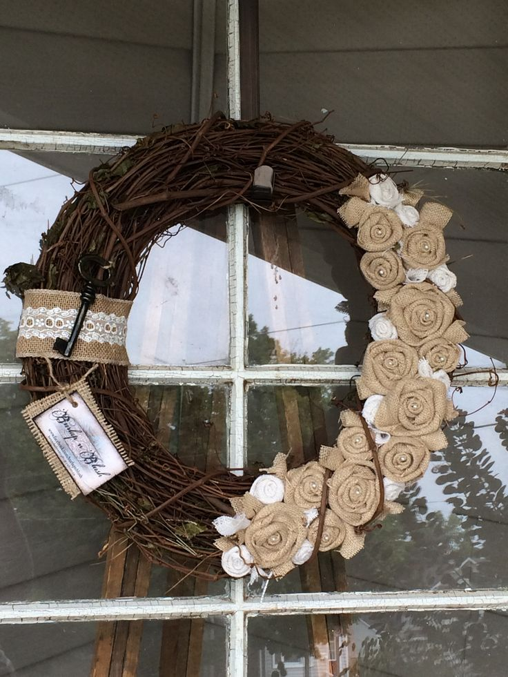 """18"""" grapevine wreath with natural and white rosettes adorned with pearls. #grapevine #wreath #lace #fallwreath"""