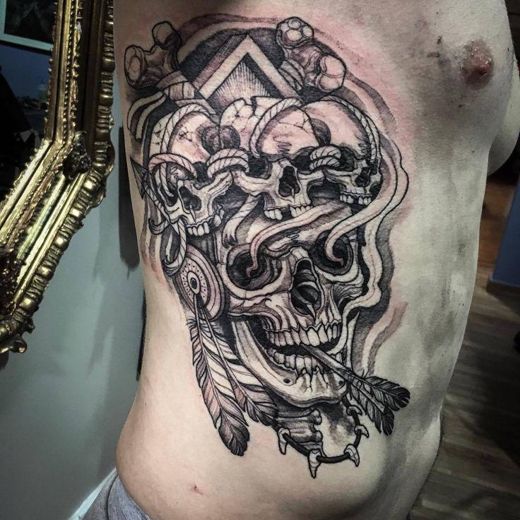 #skull #pirate #arrow #new-school #ribs #cartoon #amazing #style #tattoo #artist #studio
