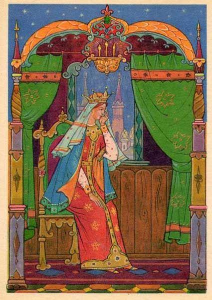 """Los cuentos de hadas de Pushkin.  Ilustración para """"El cuento de la princesa muerta y los siete caballeros"""".  Kurkin"""