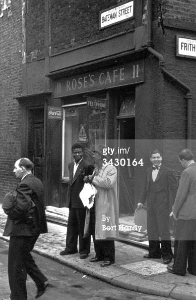 Rose's Cafe on the corner of Bateman Street and Frith Street in 1949
