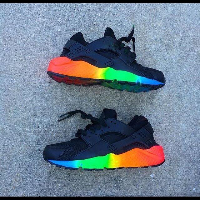 huaraches rainbow neon