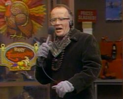 """31. """"Turkeys Away,"""" WKRP in Cincinnati (1978). The highlight is a stand-up routine that could have been on The Ed Sullivan Show or on a 1960s comedy record. Les Nessman's narration of live turkeys being pushed out of a helicopter and """"hitting the ground like sacks of wet cement"""" is similar to the absurd situations described by the deadpan Bob Newhart on his """"Button-Down Mind"""" albums — with the difference that Nessman (Richard Sanders) goes for an overwrought """"Hindenburg"""" delivery of the news.Wkrp Turkey, Wet Cement, Les Nessman, Pearls Harbor, God Is, Turkey Drop, Fly'S From Wkrp Hilarious, Favorite, Thoughts Turkey"""