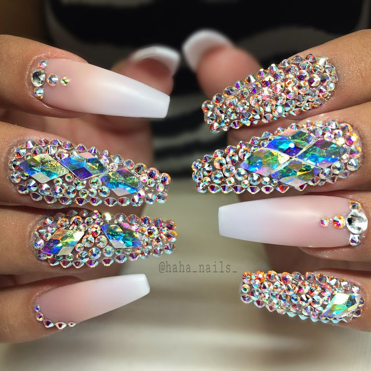 @haha_nails_ French ombré Swarovski crystal bling nails nail art long coffin
