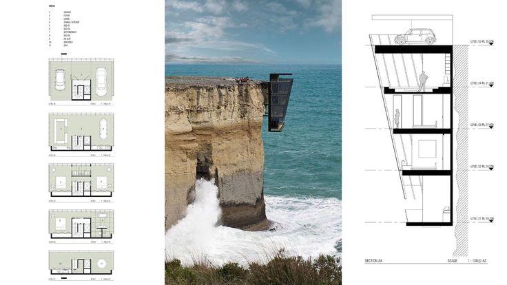 VISTA AL MAR. La casa en un acantilado, el conjunto, formado por varios módulos prefabricados, iría unido a la roca mediante soportes de acero. La idea es que el edificio actúe como prolongación...