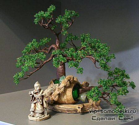 Дерево бонсай своими руками из бисера