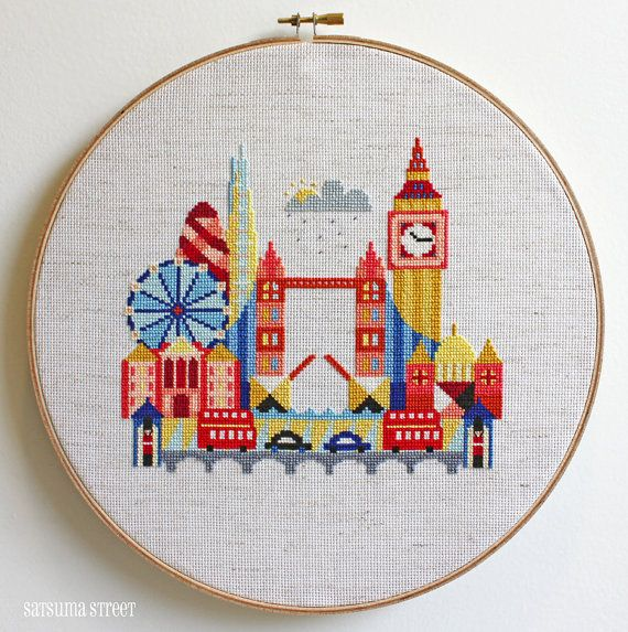 Pretty Little London Modern Cross stitch by SatsumaStreet on Etsy