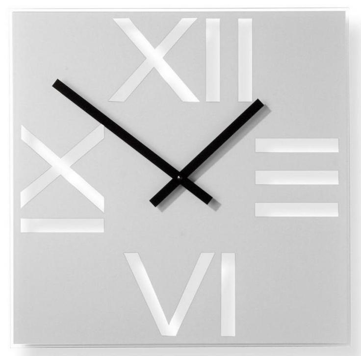 Wall clock / Square Roman Silver - iconic model by NEXTIME - DECORTIS.COM