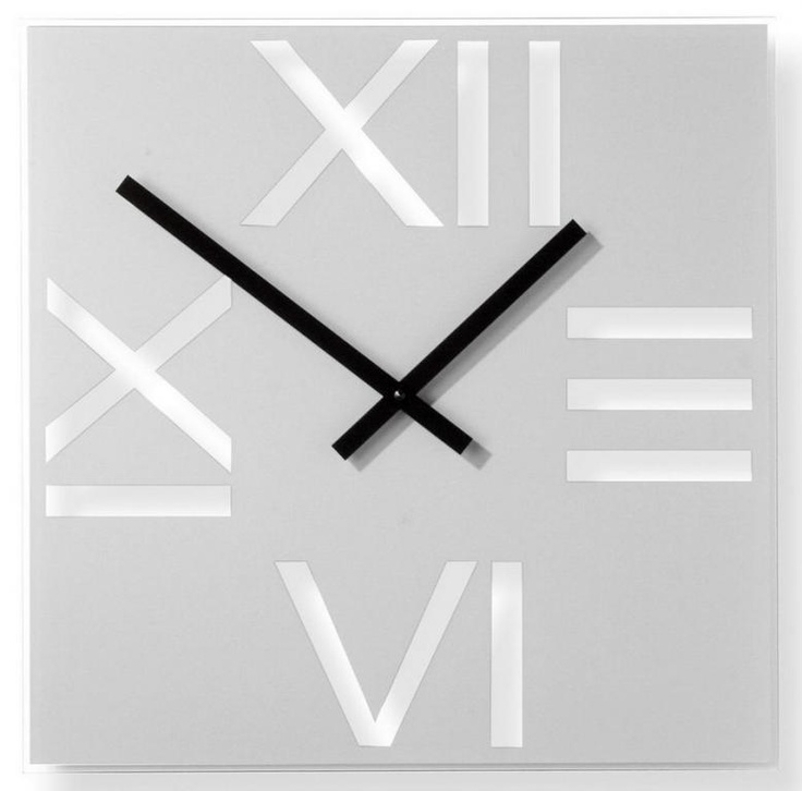 Wall clock / Square Roman Silver - iconic model by NEXTIME - DECORTIS.COM