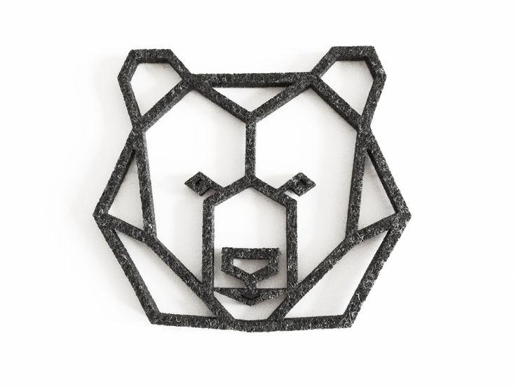 geometric bear head felt coaster from enna shop by DaWanda.com