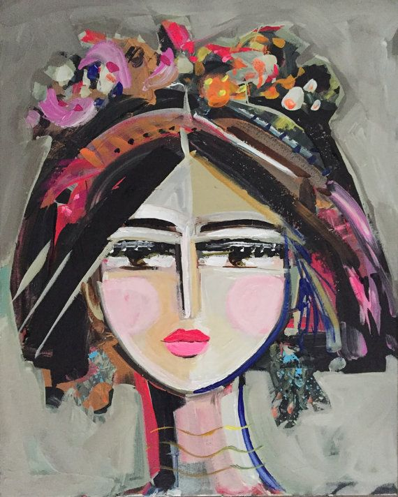 Abstract Portrait Painting original on canvas by Marendevineart