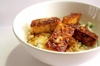 glazed caribbean tofu with sweet rice