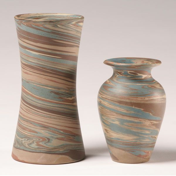 Niloak Mission Swirl Art Pottery Vases 2pc