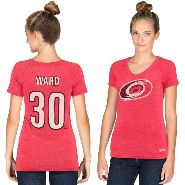 Women's CCM Cam Ward Carolina Hurricanes Name & Number Tri-Blend V-Neck T-Shirt - Red - $31.99