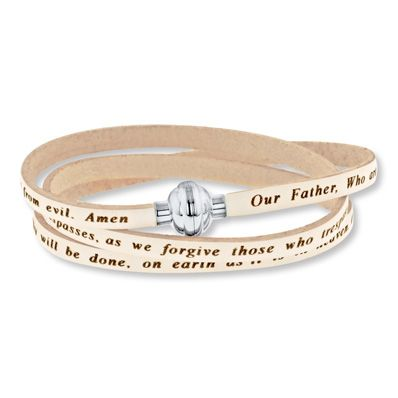 Lords Prayer Bracelet White Leather Stainless Steel